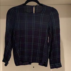 Zara women blue green black and white top
